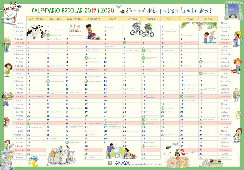Descarga el calendario escolar 2019/2020
